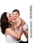 Beautiful Mother Kissing Happy...