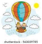 hot air balloon kids collection | Shutterstock .eps vector #563039785