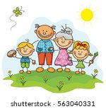 grandparents and kids collection | Shutterstock .eps vector #563040331