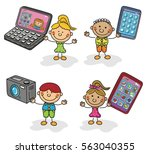 electronics kids collection | Shutterstock .eps vector #563040355