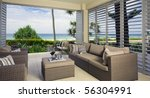 beautiful waterfront suite with ocean views - stock photo