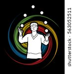 A Man Juggling Balls Designed...