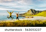 couple jumping and having fun... | Shutterstock . vector #563053237
