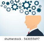 side businessman head with... | Shutterstock .eps vector #563055697