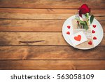 Valentines day dinner with table setting. Copy space