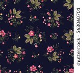 seamless floral pattern with... | Shutterstock .eps vector #563060701