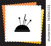 pincushion with pins  icon.... | Shutterstock .eps vector #563061121