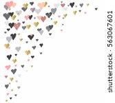 light corner design with hearts ...   Shutterstock . vector #563067601