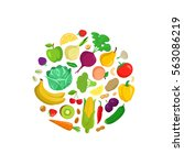 vegetables round composition.... | Shutterstock .eps vector #563086219