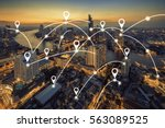 map pin flat above bangkok... | Shutterstock . vector #563089525