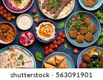 middle eastern or arabic dishes ... | Shutterstock . vector #563091901