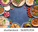 middle eastern or arabic dishes ... | Shutterstock . vector #563091934