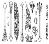 boho set with arrows  feathers... | Shutterstock .eps vector #563092429