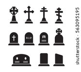 Grave Icons Set. Black On A...
