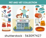Stock vector veterinary medicine hospital clinic or pet shop for animals design elements for pet feeding or 563097427