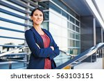 confident woman outside the... | Shutterstock . vector #563103151