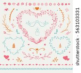 romantic set of decorations for ... | Shutterstock .eps vector #563103331