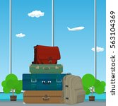retro colored suitcases and bag ... | Shutterstock .eps vector #563104369