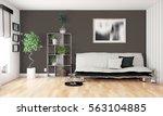 modern bright interior . 3d... | Shutterstock . vector #563104885