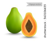 papaya and slice vector isolated   Shutterstock .eps vector #563106655
