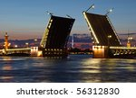 Drawbridge in St. Petersburg at night. Russia - stock photo