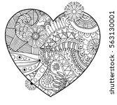 valentines day heart. zentangle ... | Shutterstock .eps vector #563130001