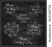 letterings happy valentines day ... | Shutterstock .eps vector #563130724