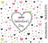 valentine's day card  hearts | Shutterstock .eps vector #563132191
