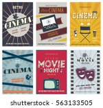 retro cinema posters and flyers.... | Shutterstock .eps vector #563133505