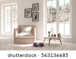 white room with armchair and... | Shutterstock . vector #563136685