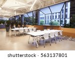 Stock photo seating in empty corporate business cafeteria los angeles 563137801