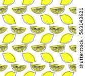 lemon pattern on white... | Shutterstock .eps vector #563143621