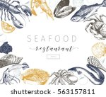vector hand drawn seafood... | Shutterstock .eps vector #563157811
