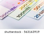 euro money  closeup of banknotes | Shutterstock . vector #563163919