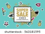super sale web banner with... | Shutterstock .eps vector #563181595