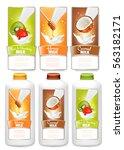 set of three labels of  fruit... | Shutterstock .eps vector #563182171