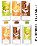 set of three labels of  fruit... | Shutterstock .eps vector #563182174