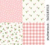 vector set of seamless floral... | Shutterstock .eps vector #563183515