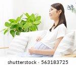 smiling pregnant japanese woman | Shutterstock . vector #563183725