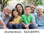 portrait of happy family in a... | Shutterstock . vector #563184991