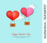 happy valentines day card... | Shutterstock .eps vector #563186557