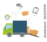 cargo truck with carton boxes... | Shutterstock .eps vector #563191945