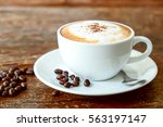 cappuccino coffee on old wooden ... | Shutterstock . vector #563197147