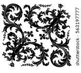 vintage baroque ornament. retro ... | Shutterstock .eps vector #563197777