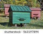 wooden beehives of honey bees | Shutterstock . vector #563197894