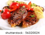 grilled steak meat with... | Shutterstock . vector #56320024