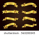 ribbon banner set.golden... | Shutterstock .eps vector #563200345