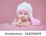 beautiful little girl in pink...   Shutterstock . vector #563200699