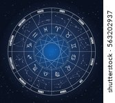 zodiac circle with astrology...   Shutterstock .eps vector #563202937