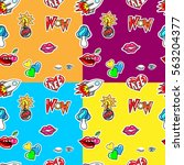 set of seamless pattern with... | Shutterstock .eps vector #563204377